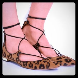 Aquazzura Christy Flat hair calf leopard size 39.5
